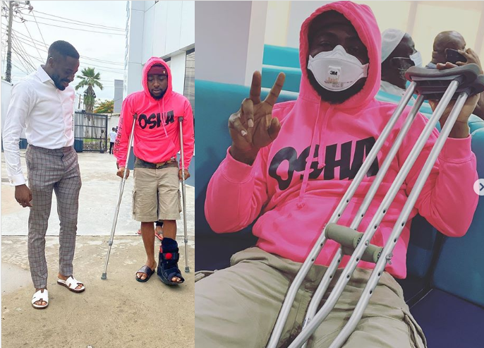 Davido Involved In Accident, Now Walks Using Crutches (Photos)